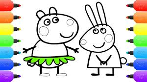peppa pig meet the rabbit family coloring pages for kids drawing