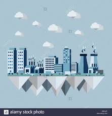 pollution cityscape concept illustration in flat style design