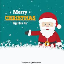 christmas card with santa cartoon vector free download