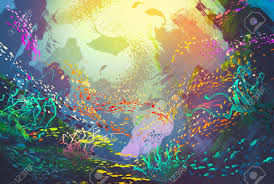 underwater with coral reef and colorful fish illustration painting