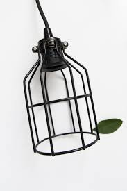diy minimalist caged light fixture