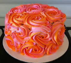 Pretty Orange Pink And Orange Rosette Cake My Cakes Desserts And Treats