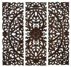 wood carved decorative wall plaque shining design white wood