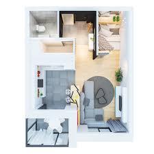 studio flat floor plan designs by style minimalist decor in modern studio apartment 4