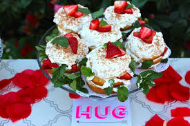 mini strawberry layer cakes with fresh cream cashmere apron