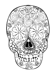 sugar skull coloring pages printable sugar skull with flowers