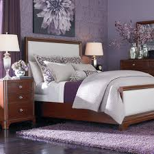Bedroom Decorating Ideas Feature Wall Bedroom Purple Rug Brown Platform Bed White Matresses Brown