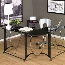 Wood And Glass Computer Desk Office Modern Wood And Black Glass Ofiice Desk With 2 Drawers