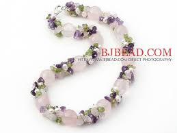 light purple necklace images Light pink and purple series rose quartz and amethyst and olivine jpg