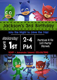 pj masks birthday party invitation jackson u0027s 3rd birthday