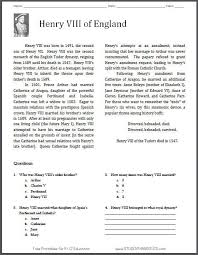 henry viii reading with questions free to print for grades 5