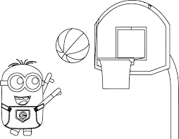 minion playing basketball coloring wecoloringpage