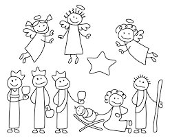 nativity black and white christmas nativity clipart black and