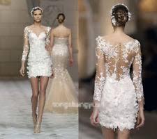 lace v neck long sleeve short wedding dresses ebay