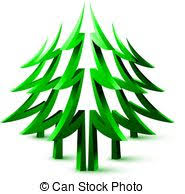 Decorative Pine Trees Clipart Vector Of Coniferous Forest Decorative Green Pine Trees