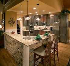 remodeling kitchen island gray cabinets and brick love this look and feel kitchen