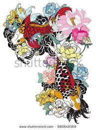 hand drawn dragon koi fish flower stock vector 683353174