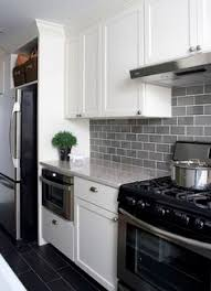 Gray Cabinets With White Countertops Smoke Glass Subway Tile White Shaker Cabinets Shaker Cabinets