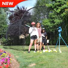 backyard batting cage with pitching machine home outdoor decoration