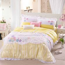 Korean Comforter Luxury Comforter Cover Sets Queen Yellow Girls Lace Korean