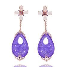 purple drop earrings er2013p r sterling silver 925 gold plated purple jade