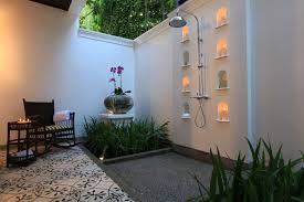 How To Make An Outdoor Bathroom Contemporary Open Air Outside Shower With White Painted Wall Color
