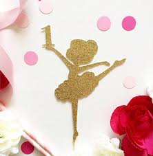 Cake Decorations For 1st Birthday Aliexpress Com Buy Glitter Gold Ballet Dancing Baby 1st