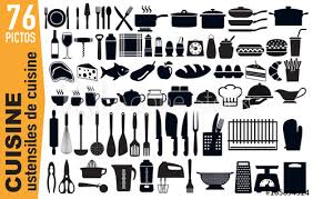 pictogramme cuisine icône cuisine ustensile cuisiner matériel cuisinier