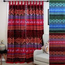 tab top curtains blue handmade cotton fl tie dye tab top curtain d panel red amp tab top curtains