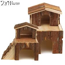 kiwarm 1pc miniatures small wooden house two storey cabin wood