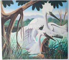 art deco painting by harcombe for brilliantly capturing the exotic and beautiful landscape of the cypress swamps of south florida this