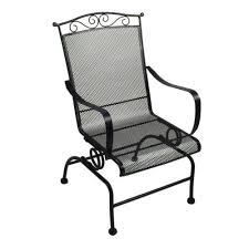 Wrought Iron Patio Chairs Backyard Creations Wrought Iron Rocking Patio Chair At Menards