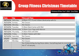 group fitness christmas and new years timetable revolutions