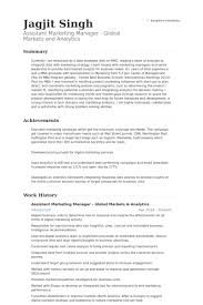 Digital Marketing Resume Sample by Assistant Marketing Manager Resume Samples Visualcv Resume