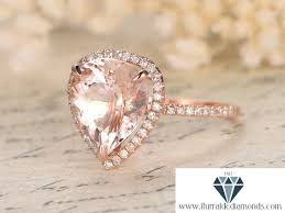 pink morganite 10x12mm pear shape pink morganite engagement ring diamond pave