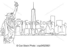 vector illustration of free hand sketch of new york city skyline