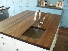food prep brooks custom kitchen countertops edge grain walnut island top with prep sink