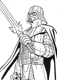 The Terrifying Darth Vader With Light Saber In Star Wars Coloring Darth Vader Coloring Pages
