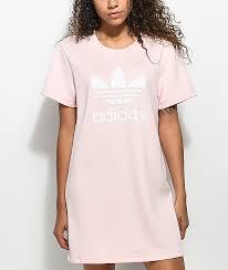 light pink adidas sweatshirt adidas pale pink trefoil tee dress zumiez