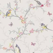 bird wallpaper phoebe dove grey birds butterflies floral feature wallpaper holden