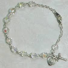 rosary bracelets tin cut rosary bracelet 6mm borealis sterling