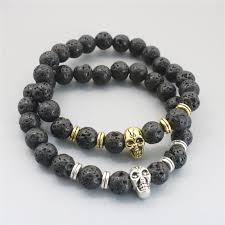 bracelet gold skull images 2017 new 8mm lava rock skull bracelets bracelet gold silver jpg