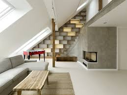 concrete ceiling white concrete fireplace under wall mounted tv combined with f