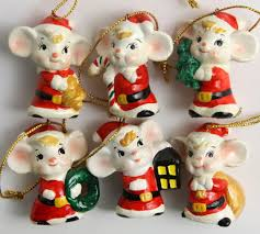 vtg set 6 enesco mice santa claus ornament hanging ceramic
