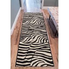 2 X 7 Runner Rug Eastgate Animal Print Novelty Zebra Black Beige Runner Rug 2 X 7