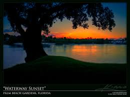Intracoastal Waterway Map Sunset Over Intracoastal Waterway Palm Beach Gardens Florida