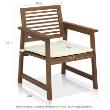 Dining Chairs With Cushions Amazon Com Furinno Tioman Teak Hardwood Outdoor Armchair With