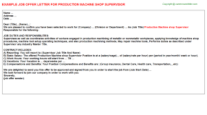application letter for supervisor position sample production machine shop supervisor offer letter