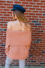 Stones Off The Shoulder Tunic Sweater