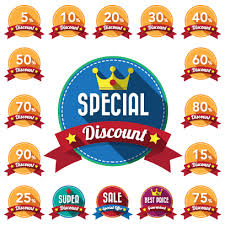 discount ribbon yellow discount labels wit ribbon vector vector label free